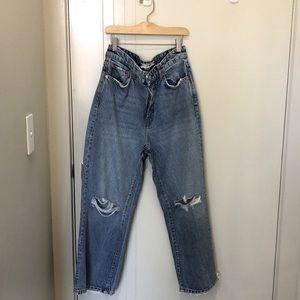 Free People - Slit Knee Wide Leg Jeans